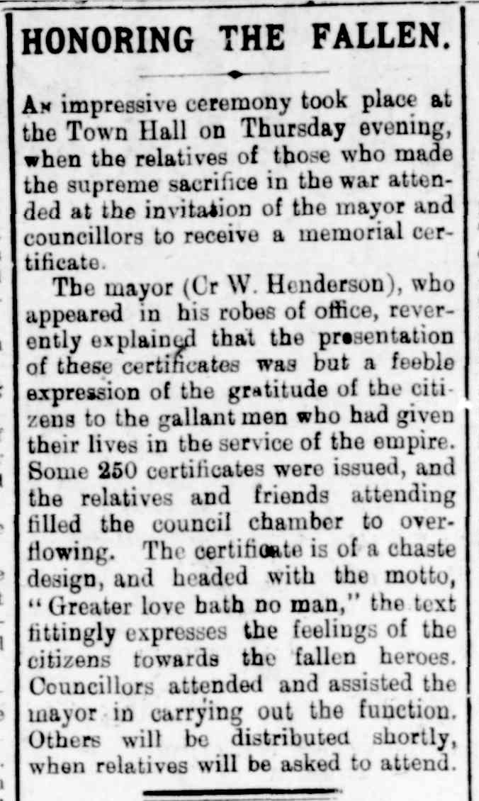 Honouring The Fallen 14 August Williamstown Chronicle 1920