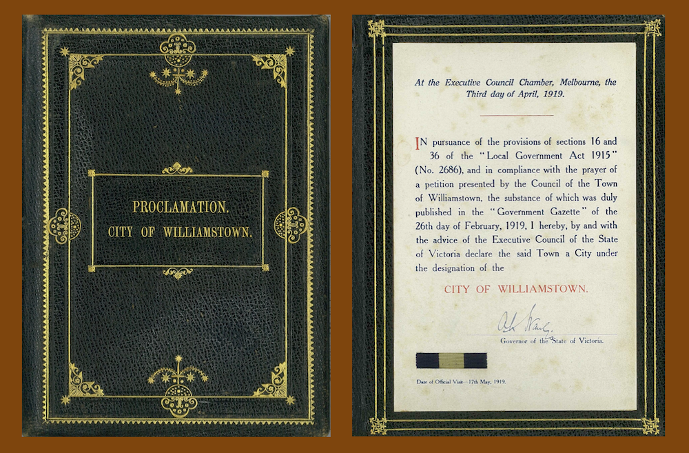 Proclamation of City of Williamstown Cover and Inner