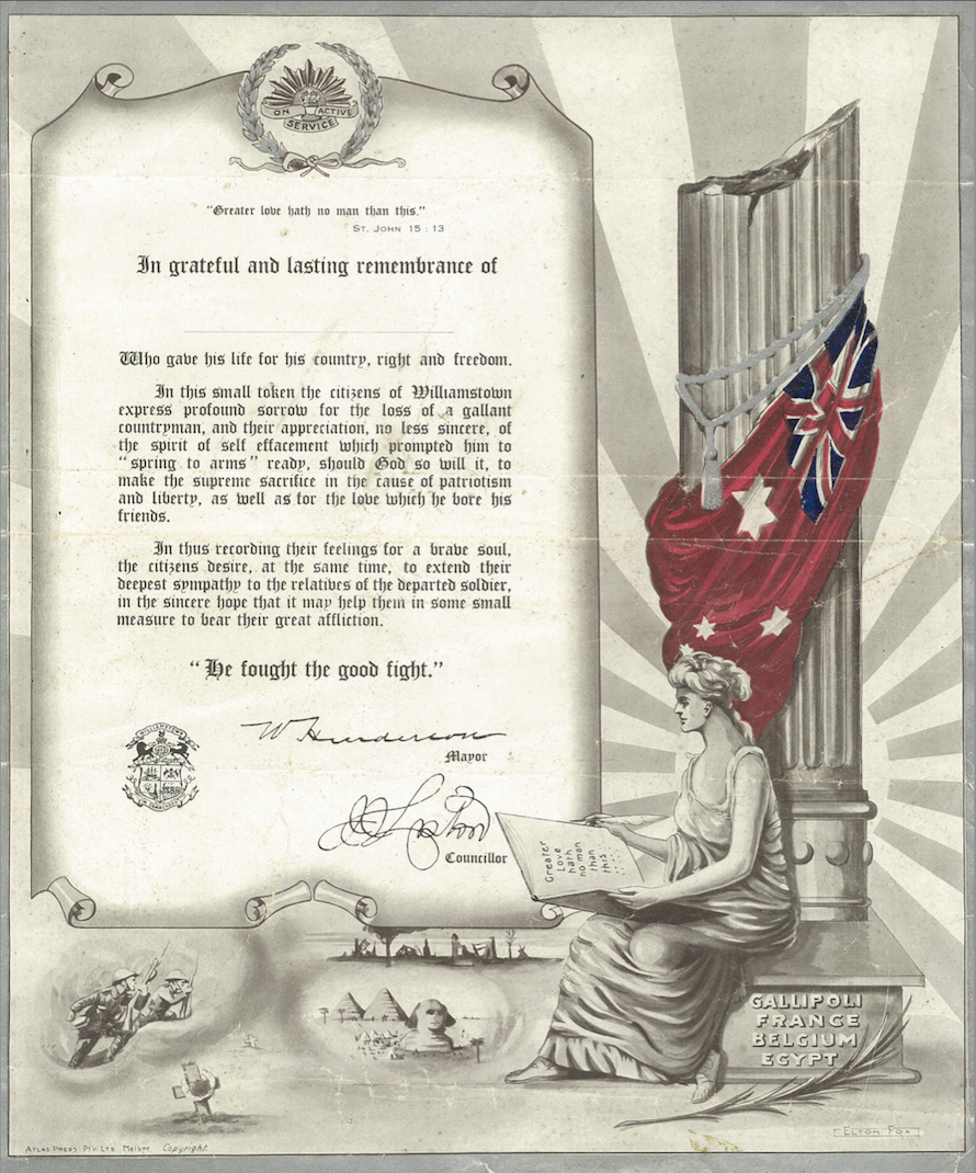 WW1 Certificate Williamstown Vic August 1920